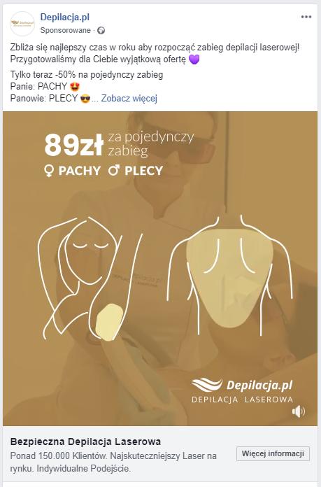 Zdjęcie reklamy z portalu facebook.com