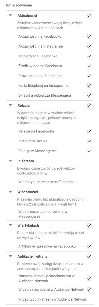 Umiejscowienia reklam na Facebooku